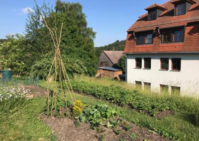 Beete und Haus im Seminarort der Wildnisschule